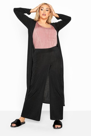 Yours Black Curve London Slinky Co-Ord Wide Leg Trousers
