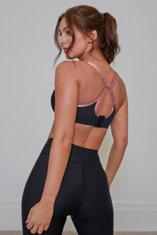 Pour Moi Black Energy Underwired Lightly Padded Lace Sports Bra E+
