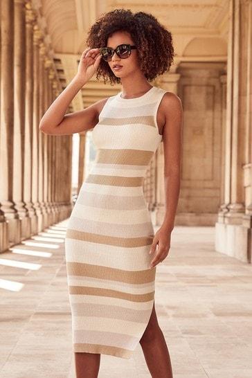 Lipsy Neutral Regular Stripe Knitted Midi Dress