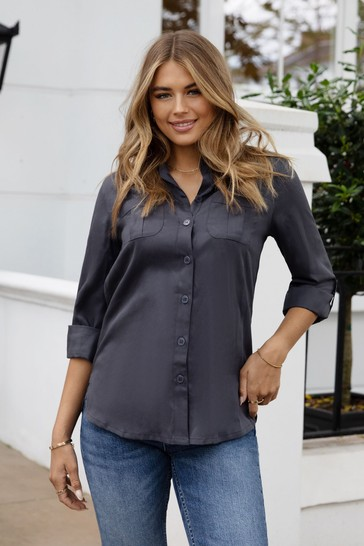 Lipsy Charcoal Grey Tencel Regular Relaxed Supersoft Utility Shirt