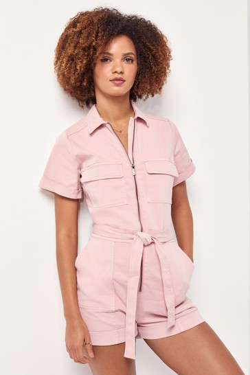 Lipsy Pale Pink Utility Playsuit