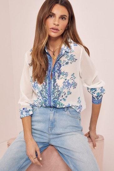 Lipsy Blue Paisley Regular Printed Shirt