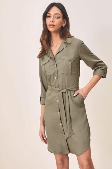 Lipsy Olive Regular Tencel Shirt Dress