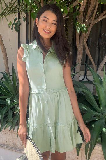 Lipsy Sage Tencel Sleeveless Tiered Shirt Dress