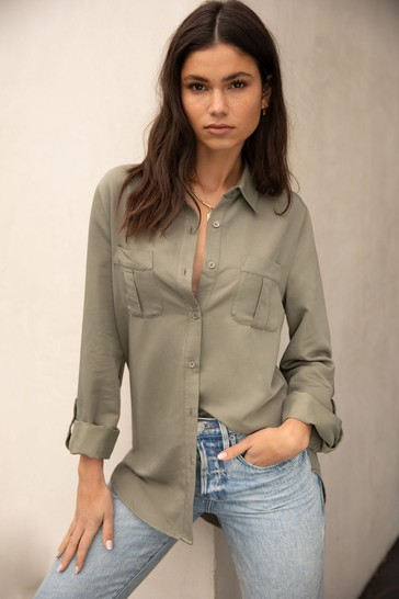 Lipsy Olive Tencel Regular Relaxed Supersoft Utility Shirt