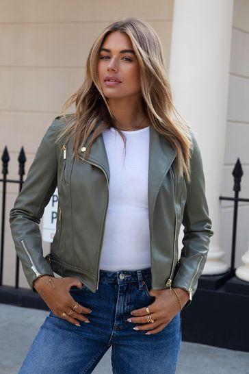Lipsy Khaki Regular Faux Leather Biker Jacket