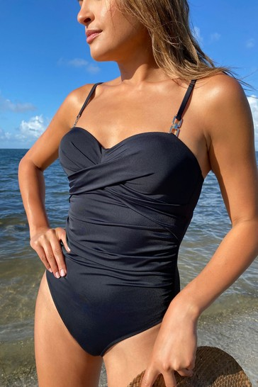 Lipsy Black Ruched Swimsuit