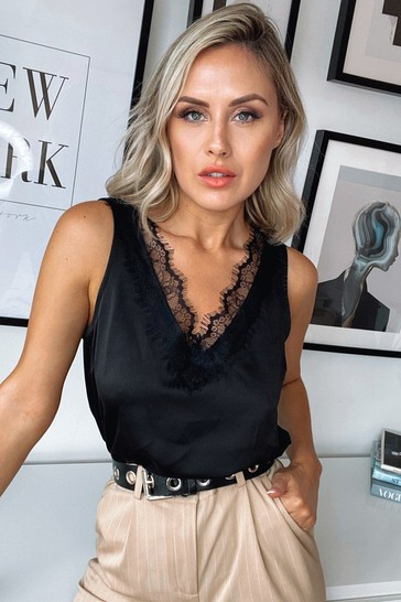 Lipsy Black Lace V Neck Vest