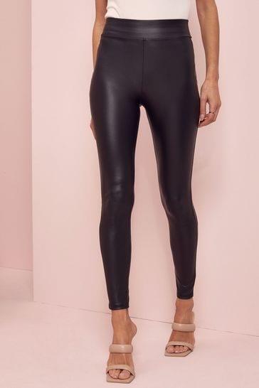 Lipsy Black Tall High Waist Leather Look Leggings