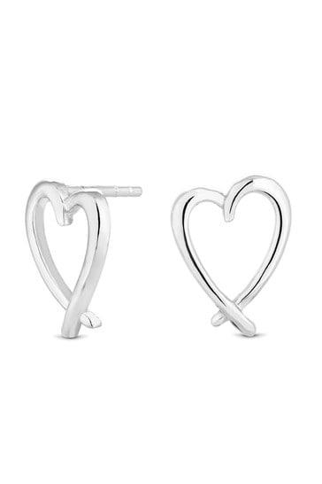 Simply Silver Sterling Silver Heart Stud Earrings