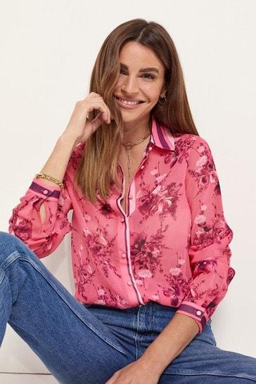 Lipsy Pink Floral Stripe Regular Printed Shirt