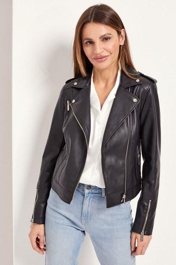 Lipsy Black/Gold Regular Faux Leather Biker Jacket
