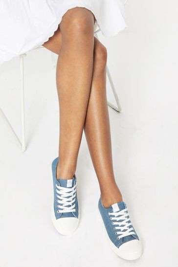 Lipsy Blue Regular Fit Low Top Lace Up Canvas Trainer