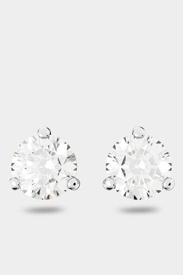 Swarovski Silver Solitaire Pierced Earrings