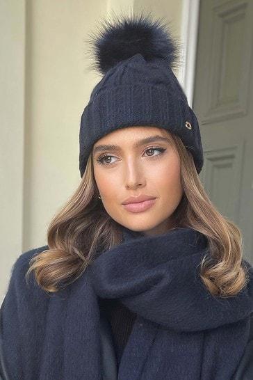 Lipsy Navy Blue Cosy Cable Knit Pom Hat