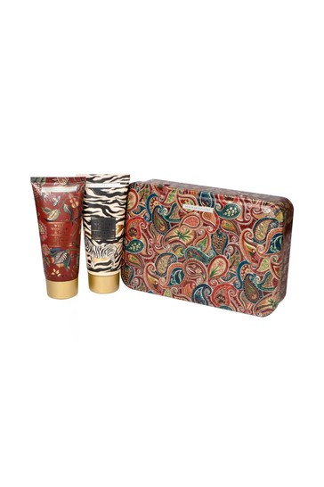Heathcote & Ivory Wild Wonder & Joy Pampering Bodycare Duo in Reusable Embossed Tin  (with 100ml Body Wash and 100ml Hand & Body Cream)