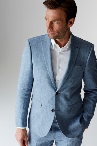 fb1b37f1f940 Buy Light Blue Slim Fit Nova Fides Signature Linen Suit: Trousers from Next  Czech Republic