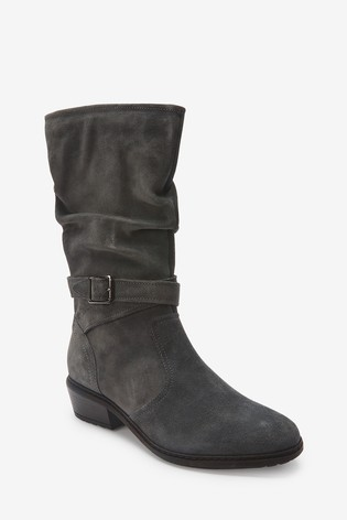 Grey Forever Comfort® Leather Long Boots With Buckle Detail