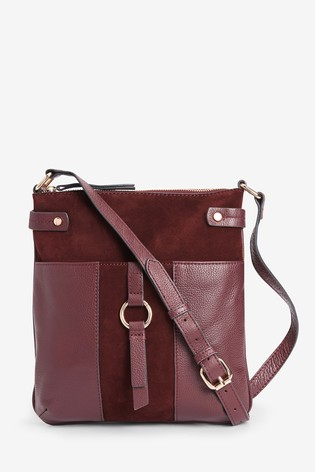 Berry Leather Messenger Bag