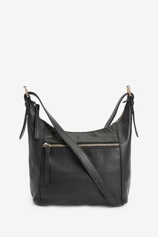 Black Leather Zip Across Body Bag