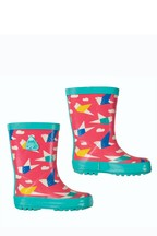 Frugi Wellington Boots In Pink Origami Birds Print