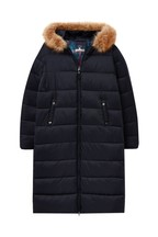 Joules Blue Touchline Padded Coat With Faux Fur Trim Hood