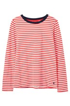 Joules Red Selma Long Sleeve Crew Neck Top
