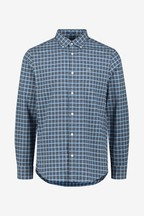 GANT Blue Brushed Oxford Check Regular Shirt