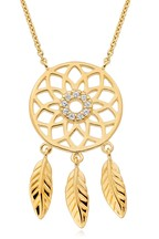 Beaverbrooks 9ct Gold Plated Sterling Silver Cubic Zirconia Dream Catcher Necklace