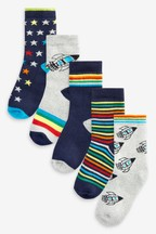 5 Pack Full Terry Cotton Rich Rocket Socks (Younger)
