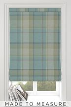 Made To Measure Teal Marlow Check Roman Blind