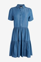 Tiered Tencel Shirt Dress
