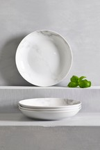 Set of 4 Marble Effect Pasta Bowls