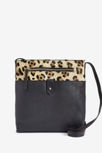 Leather And Suede Messenger Across-Body Bag