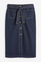 Belted Button Through Denim Skirt