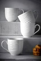Set of 4 Casual Embossed Mugs
