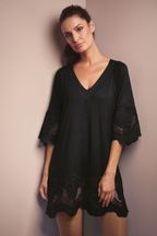 Fantasie Black Dione Crochet Trim Tunic Cover Up