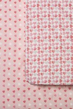 2 Pack Hearts And Stars Fitted Sheet