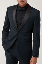 Slim Fit Textured Tuxedo Suit: Jacket