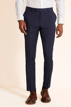 Moss 1851 Tailored Fit Blue Check Supreme Stretch Trousers