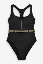 High Neck Zip Front Belted Swimsuit