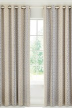 Bedeck of Belfast Satara Geo Cotton Lined Eyelet Curtains