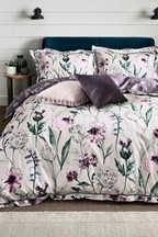 200 Thread Count 100% Cotton Sateen Reversible Plum Floral Duvet Cover And Pillowcase Set