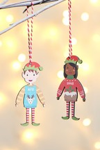 Personalised Mini Elf Hanging Decoration by Oakdene Designs