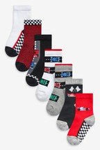 7 Pack Cotton Rich Race Car Socks (Younger)