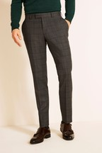 Moss 1851 Tailored Fit Grey/Blue Windowpane Check Supreme Stretch Trousers