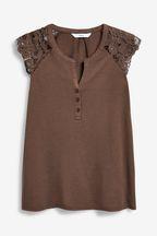 Lace Sleeve Notch Neck Top