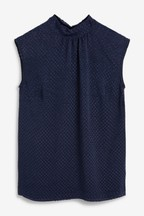 High Neck Textured Sleeveless Top
