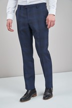 Regular Fit Marzotto Signature Check Suit: Trousers
