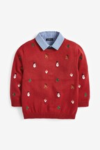 Christmas Embroidered Jumper With Mock Shirt Collar (3mths-7yrs)